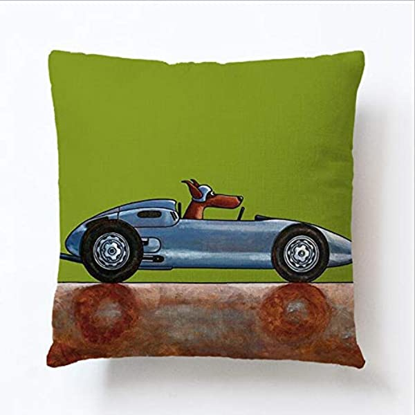 Vankie Classical Vintage Animal Style Dog Driver Design Cushion Cover Pillow Case Cover Throw Linen Home Decoration 18Inches X 18Inches 1pcs White Sport CAR