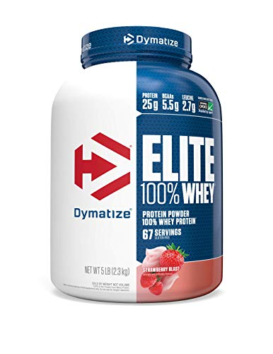 Dymatize Elite 100% Whey Protein Powder, 25g Protein, 5.5g BCAAs & 2.7g L-Leucine, Quick Absorbing & Fast Digesting for Optimal Muscle Recovery, Strawberry Blast, 5 Pound
