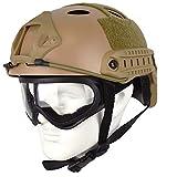 QHIU Casco táctico tipo PJ ligero protector rápido para Airsoft Paintball CS juego al aire libre deporte con gafas
