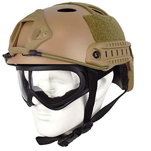 QHIU Taktisch Helme Armee Militär Combat PJ Typ Fast Schutzhelm mit Schutzbrillen Schnelle Helm für Airsoft Paintball SWAT War-Game CQB (DE+X400)