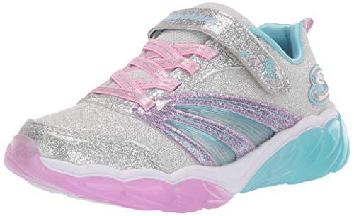 Skechers Mädchen Fusion Flash Sneaker, Silber (Silver Sparkle Mesh/Lavender & Aqua Trim Sllv), 33 EU