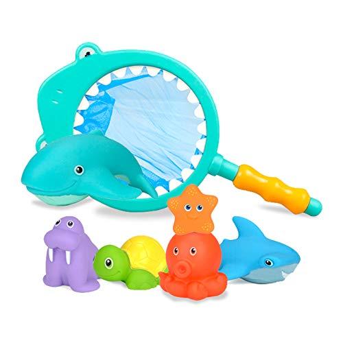 Gxhong Baby Badespielzeug, 7 Stück Badewanne Spielzeug Kinder, Badewannenspielzeug Wasserspritztiere mit Fischernetz, Schwimmendes Poolspielzeug für Junge und Mädchen