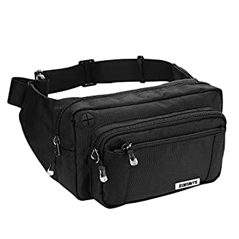 Zoegate Waist Pack Bag Fanny Pack for Men&Women Hip Bum Bag with Adjustable Strap for Outdoors Workout Traveling Casual Running Hiking Cycling Walking  Black
