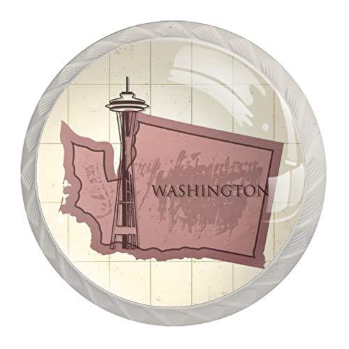 Washington State Map Cabinet Drawer Knobs White Pulls Handles for Kitchen Cupboard Bathroom Cabinet Dresser,4 Pack(35mm)