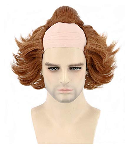 Jsmhh Peluca de PennyWise for nios Cosplay Peluca de payaso Peluca de cabeza calva marrn corta for Halloween Carnival (Color : Adults)