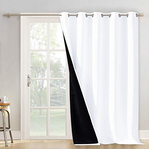 "NICETOWN Room Seperating Divider, Room Divider Curtain Screen Partition, Function Thermal Blackout Patio Door Curtain Panel, Sliding Door Insulated Curtains for Patio, White, 108"" Tall x 70"" Wide"