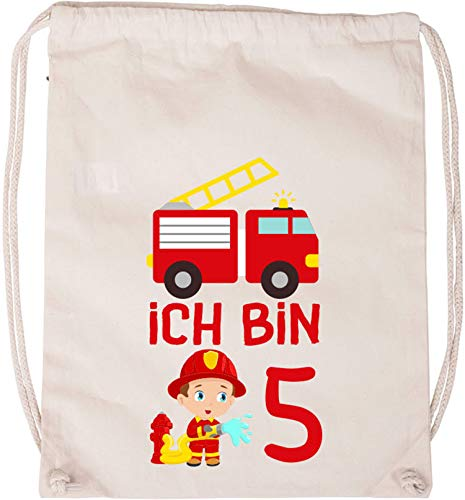 EZYshirt® Kinder Feuerwehrauto 5. Geburtstag Baumwoll Stoffbeutel