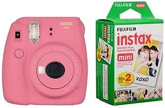 Fujifilm instax Mini 9 Instant Camera (Flamingo Pink) with Film Twin Pack Bundle (2 Items)