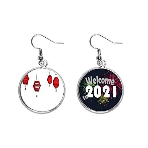 Red Lanterns Chino Año de Gallo Pendientes Pendientes Pendientes Joyería 2021 Bendición