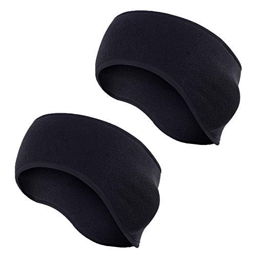 Tagvo Hebilla de algodón acolchada caliente con tapa completa Muffs de oído, estiramiento a tamaño no voluminoso ajuste cómodo para adultos hombres mujeres para el deporte y el desgaste casual (negro)