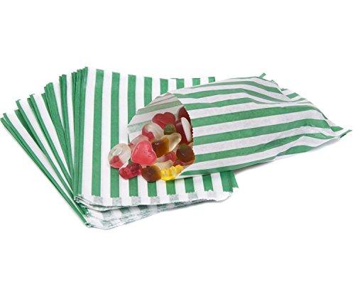 100 - Gestreepte snoep papieren tassen voor zoete smaak buffet bruiloft taart cadeauwinkel 13 kleuren ontwerpen UK verkoper dezelfde dag verzending Groen