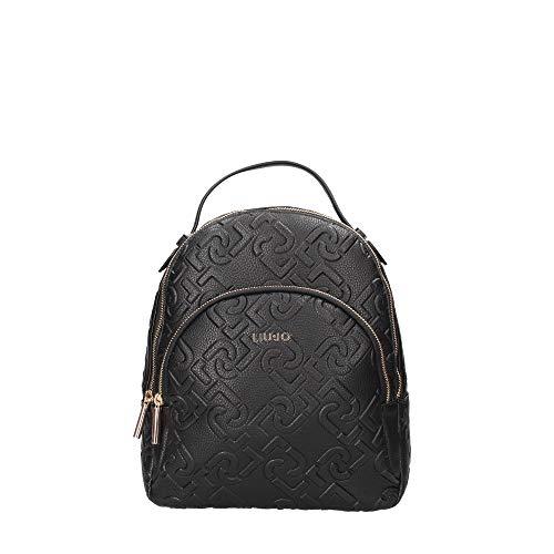 Zaino Liu-Jo backpack M in ecopelle multi logo embossed nero donna B21LJ71