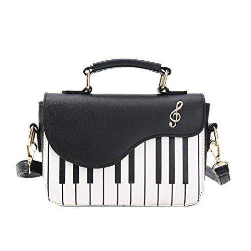 SODIAL Schwarz Neu Mode-Hit-Farbe Klavier Drucken Handtasche suesse frische Windschulter Diagonale tragbare kleine Tasche