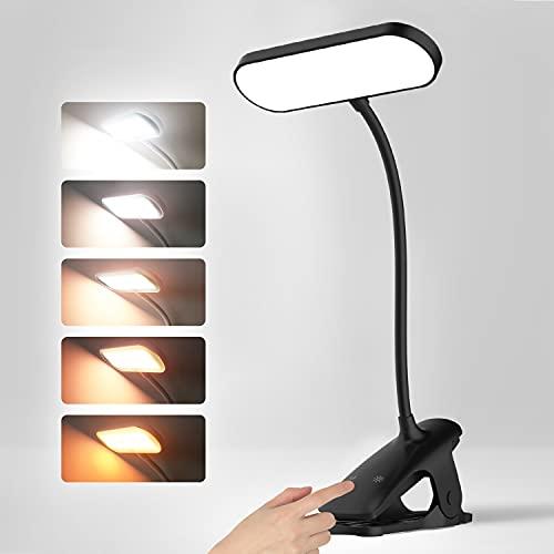 36LED Luz Lectura, flexo pinza 5 modo lampara de mesa luz de escritorio 10 Niveles de Brillo ajustable Lampara Lectura Recargable con Sensor Táctil para Lectores Noche, E-Reader, Estudio, Cama, Tablet
