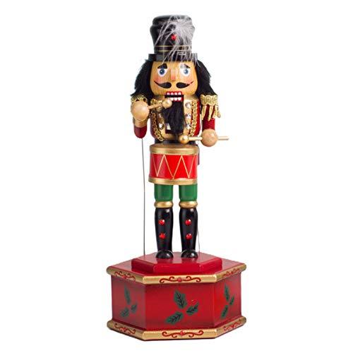 XINGYUE Caja de música de madera con base redonda, decoración de cascanueces, juguete de soldado para niños de escritorio de Navidad interior decoración de hogar adornos
