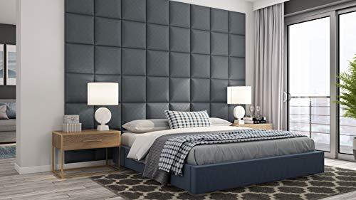 HEKO PANELS 4X Exklusiv Bett Kopfteil Gepolstert 40x40 cm - Stilvoll Dick Wandpolster Bett Kopfteil für Bett - Dunkelgrau