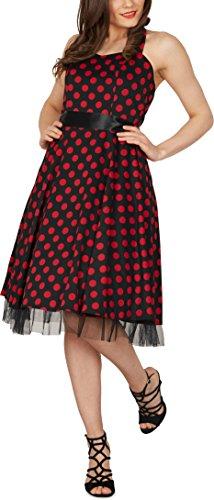 Black Butterfly 'Rhya' Vintage Polka-Dots Kleid im 50er-Jahre-Stil (Schwarz – Rote Punkte, EUR 38 – S) - 6