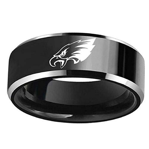 FlyStarJewelry Philadelphia Eagles Football Black Titanium Steel Men Sport Ring Band Size 6-13 (12)