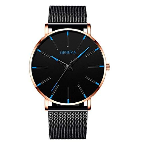 Uhren Minimalist Männer Art und Weise Ultra dünne Uhren einfache Mann-Edelstahlgewebe Gürtel Quarzuhr Relogio Masculino Asun (Color : M Blue Rose Gold)