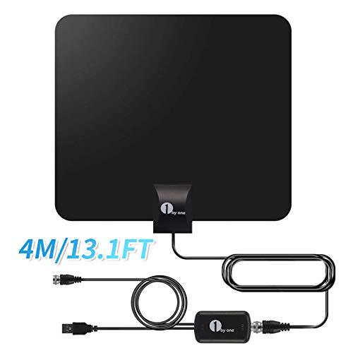 1byone DVB-T2/DVB-T Antenne mit Verstärker Zimmerantenne DVBT 24K HD Indoor terrestrisch digital Antenne für Fernseher/Reciever für TV Empfang ohne Kabel