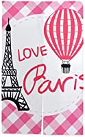 TINZZEROS のれん おしゃれ パリの黒い風船を描くセット 飾り ファッション 可愛 厚すぎず 動物 半遮光 おしゃれ 和室でも 夏涼しく 部屋間仕切り 突っ張り棒付き 幅85㎝×丈150㎝