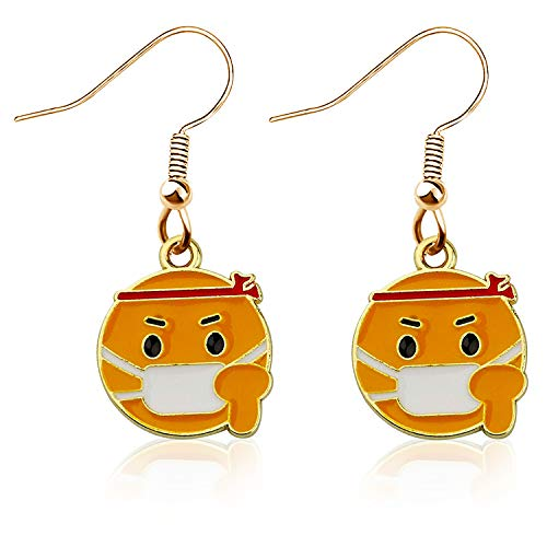 JIGAL Funny Cartoon Corona Mask Earrings 2020 Memorial Jewelry Humor Social Distancing Gift for Women Girls (mask earrings)