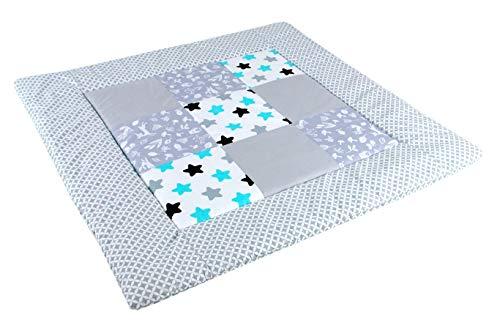 BABYLUX Spieldecke Patchwork KRABBELDECKE 110 x 110 cm Kinderdecke Baby Decke (11. Maroko grau - Sterne)