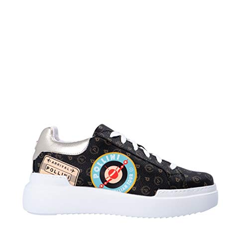 Pollini Scarpa Donna TA1507 4G0AQ Sneaker Heritage Patch Nero