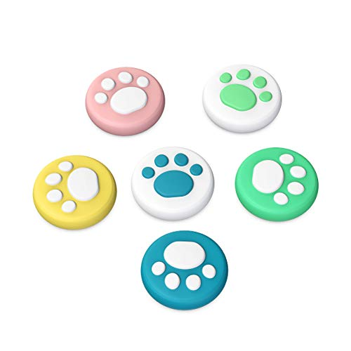 TiMOVO [6 PZS Tapa de Botones de Pulgar Compatible con Nintendo Switch y Switch Lite, Cubierta Protectora de Botones de Silicona Diseño de Pata de Gato Joy-con - Multicolor