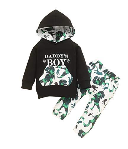 Wexuua Conjunto de ropa para bebé y niño, sudadera con capucha de dinosaurio, manga larga, sudadera con capucha, pantalones, camuflaje. Verde. 12-18 Meses