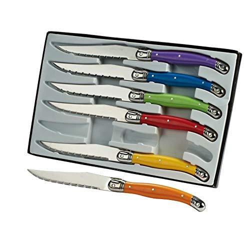 Steakmesser Set Laguiole 6 Teilig Messerset Bunt Wellenschliff (Pizzamesser, 6 Messer, Bunte Griffe, Fleischmesser)