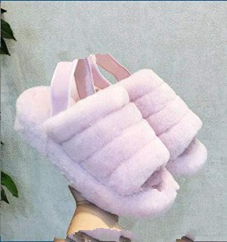 YYFF Palabra de Mujer con Sandalias,Zapatillas de Piel de Gran tamaño, Sandalias Gruesas para Exteriores-Pink_36,Zapatillas de Estar por Casa Ultraligera
