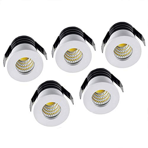 Elitlife 5er Mini Klein Einbaustrahler Weiß Minispot Einbauleuchte LED Aluminium 3W Warmweiß mit Transformer Recesed Downlight