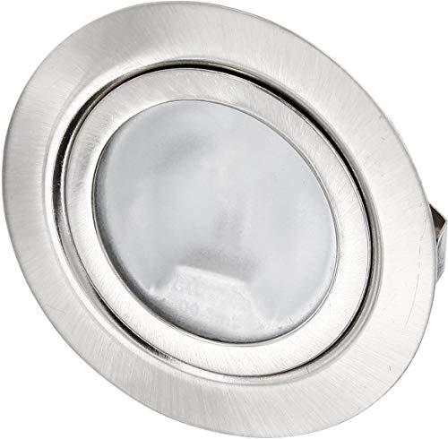 Preisvergleich Produktbild Superslim Möbeleinbaustrahler - Vollmetall Edelstahl gebürstet - 12V G4 20W mit austauschbare Leuchtmittel dimmbar - passt in 60er Dose - mit Glasabdeckung matt - Außen Ø 72 mm - Einbau Ø 60mm - nur 19mm tief - für LED G4 Lampen geeignet