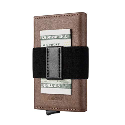 Tarjetero de Cuero para Tarjetas de Crédito, Cartera Tarjetero Pequeña Hombre Bloqueo RFID Billetera Minimalistas Banda Elástica para Billetes, Moca