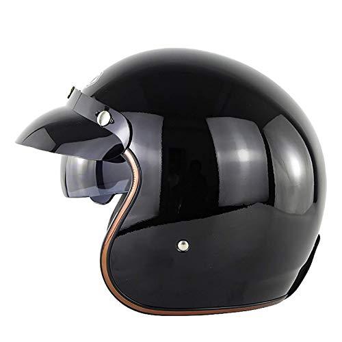 NZGMA 3/4 Casco de Media Cara Casco clásico de Motocicleta Abierta Casco Dot/ECE Cruiser Scooter Jet-Helmet Motocicleta para Adultos Casco Parasol para Hombres y Mujeres D, S (55~56cm)