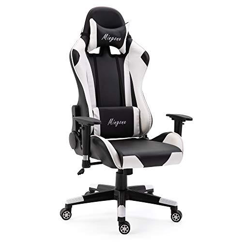 Mingone Essentials Gaming Stuhl Racing Stuhl Computerstuhl Chefsessel Höhenverstellbarer Schreibtischstuhl Ergonomisches Design mit Verstellbaren Armlehnen und Wippfunktion (Weiß)