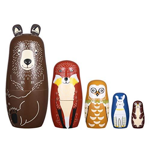 EXCEART 5 StüRussische Nistpuppen Matchka Puppe für Kinder Gertstag Dekratinen Cartn Hlzspielzeug Geschenke