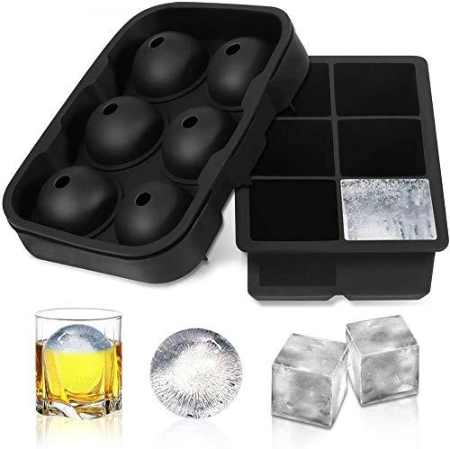 SXJ 2Er Pack Eiswürfelform Für Je 6 Riesige Eiswürfel - BPA Freie Silikonform, Eiswürfelschale Eiswürfelbehälter Mit Deckel