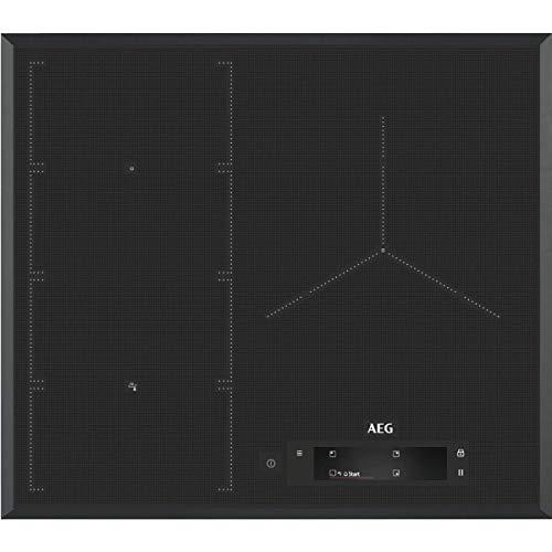 AEG IAE63850FB Placa inducción flexible, Biselada, Extraplana 3 zonas, Pantalla TFT, Función Pausa, Calentamiento rápido, Asistente de cocción,Función FlexiPuente, Gris, 60 cm