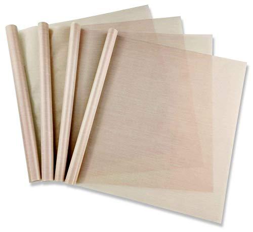 Pritogo, set di 4 fogli di carta da forno riutilizzabile in silicone, 35 x 42 cm, senza grasso e olio, ritagliabili, lavabili in lavastoviglie, con rivestimento antiaderente