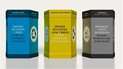 Pack de 3 Papeleras de Cartón con Diseño Preestablecido Papel Plástico Órganico |85 x 36,5 cm | Reciclar | Utensilios de Oficina | Cubo de Basura | Residuos |