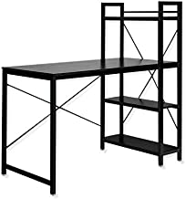 AJP Distributors Computer Desk 47 inch with Storage Shelves Study Writing Table for Home Office Modern Simple Style Black