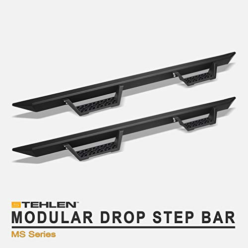 Stehlen 733469494256 Modular Drop Step Side Nerf Bars Rail Running Boards - Matte Black For 1998-2001 Dodge Ram 1500/1998-2002 2500 3500 Quad (Crew / 4 Door Extended) Cab
