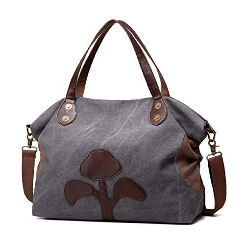 Eeayyygch Handtasche Tasche Strandtasche Einkaufen Arbeitsspeicher Große Kapazität Umhängetasche Umhängetasche Reisetasche, Grau-L (Farbe : Grau, Größe : Large)