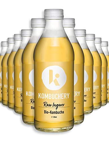 12x 330ml Bio-Kombucha RAW INGWER KOMBUCHERY: Fermentiert Unpasteurisiert Probiotisch Vegan Kalorienarm