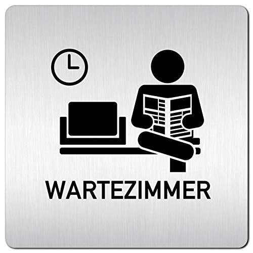 Kinekt3d Leitsysteme XXL Schild - Türschild • 125 x 125 mm • Wartezimmer 004 • 1,5 mm Aluminium Vollmaterial • 100{947469a41260ce6f16d7a293821e84ce2f044b0ac5914ea6a90fc08a341dcb7d} Made in Germany