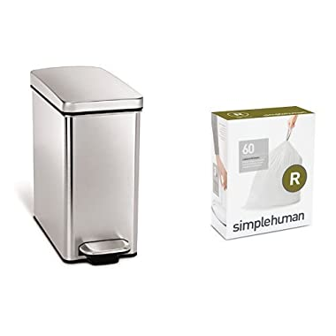 simplehuman 10 litre profile step can fingerprint-proof brushed stainless steel + code R 60 pack liners