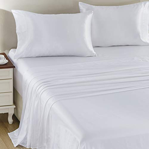 CozyLux Satin Sheets Queen Size 4-Pieces Silky Sheets Microfiber White Bed Sheet Set with 1 Deep Pocket Fitted Sheet, 1 Flat Sheet and 2 Pillowcases,...