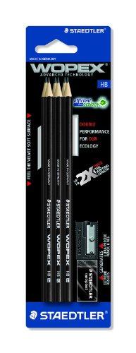 Staedtler 180HB9S1BK WOPEX Bleistift HB, black line, Set 6 Stück auf Blisterkarte plus Spitzer + Radierer